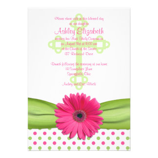 Pink Green Polka Dots First Communion Invitation