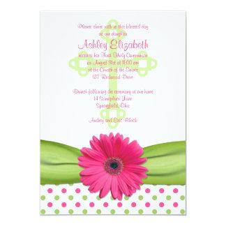 Pink Green Polka Dots First Communion Invitation