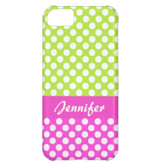 Pink Green Polka Dots - Name iPhone 5 Case