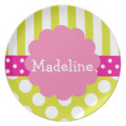 Pink & Green Polka Dots Stripes Personalised Plate