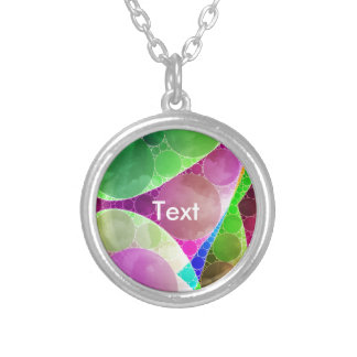 Pink Green Purple Abstract Round Pendant Necklace