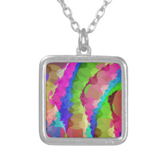 Pink Green Purple Abstract Square Pendant Necklace