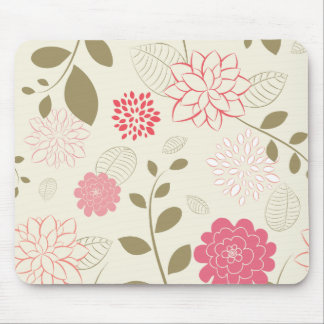 Pink & Green Retro Floral Fashion Mouse Pad
