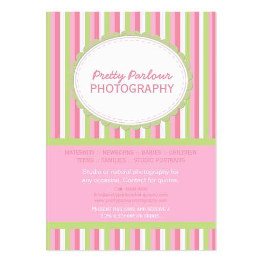 Pink Green Striped Photographer Business Card