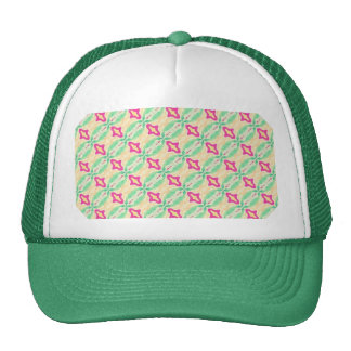 Pink Green Stripes Chains Pattern Trucker Hats
