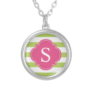 Pink Green Stripes Monogram Silver Plated Necklace