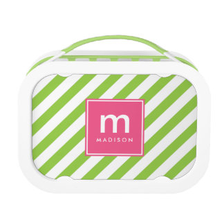 Pink Green Stripes Monogrammed Lunch Box