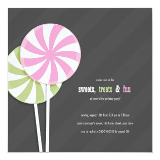 Pink & Green Swirl Lollipops Party Invitations