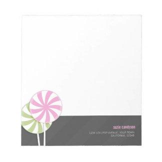 Pink & Green Swirl Lollipops Personalizable Notepad