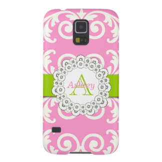 Pink Green Swirls Damask Pattern, Your Name Cases For Galaxy S5