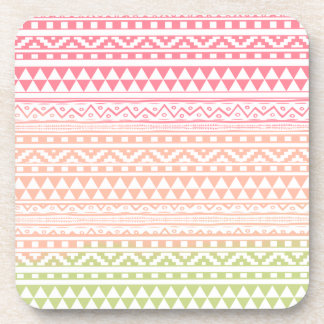 Pink Green Watercolor Aztec Tribal Print Pattern Coaster