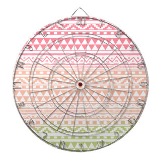Pink Green Watercolor Aztec Tribal Print Pattern Dart Boards