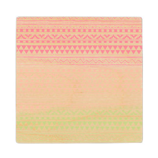 Pink Green Watercolor Aztec Tribal Print Pattern Wood Coaster