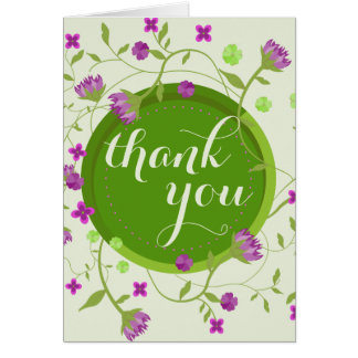 Pink Green Watercolor Fine Floral Thank You Card