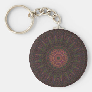 Pink & Green Wheel Kaleidoscope Basic Round Button Key Ring