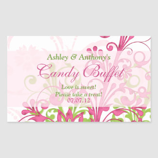 Pink Green White Abstract Floral Candy Buffet Rectangular Sticker