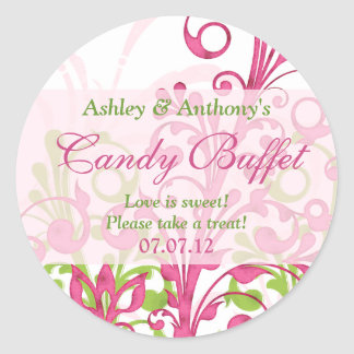 Pink Green White Abstract Floral Candy Buffet Round Sticker