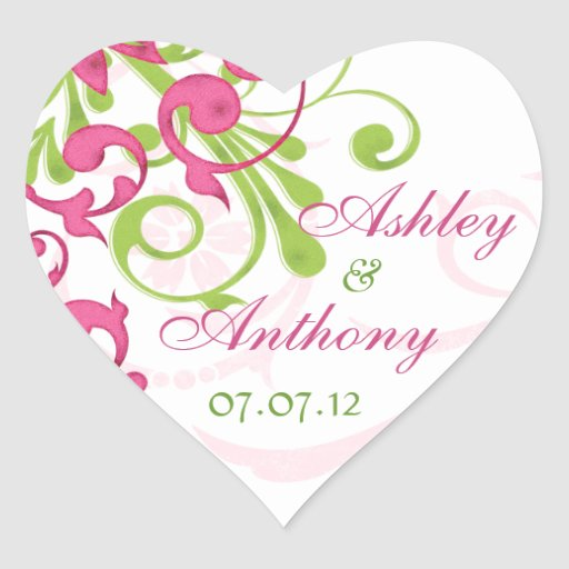 Pink Green White Abstract Floral Wedding Heart Heart Stickers