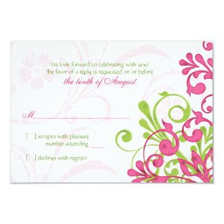 Pink Green White Abstract Floral Wedding RSVP Card 9 Cm X 13 Cm Invitation Card