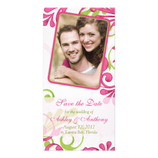 Pink, Green, White Floral Photo Save the Date Personalized Photo Card