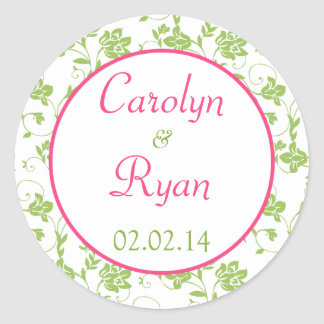 Pink Green White Floral Wedding Stickers