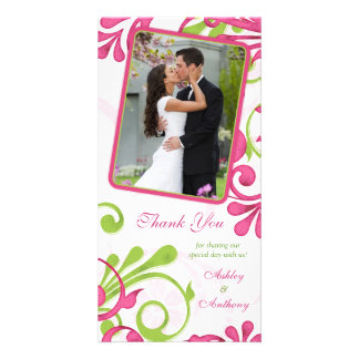 Pink, Green, White Floral Wedding Thank You Photo Greeting Card