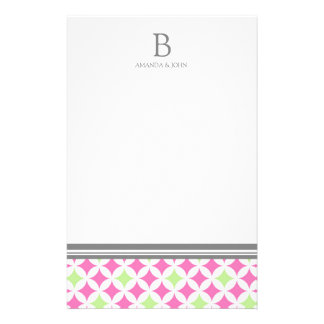 Pink Green White Wedding Monogram Stationery