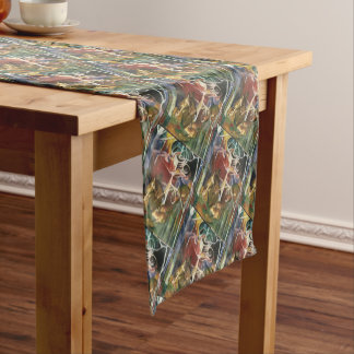 Pink Green Yellow Deer Short Table Runner