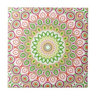 Pink, Green, Yellow & Orange Kaleidoscope Flowers Small Square Tile
