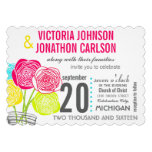 Pink Green Yellow Photo Floral ModernTypography Invites