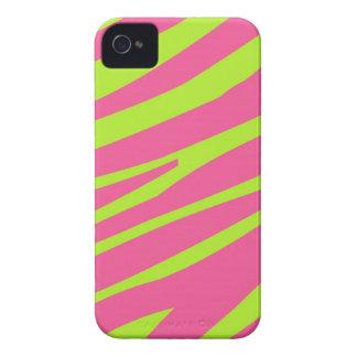 Pink Green Zebra Stripe Print iPhone 4 Case-Mate