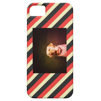 Pink, Grey, and Cream Striped, with Dog Photo iPhone 5 Covers