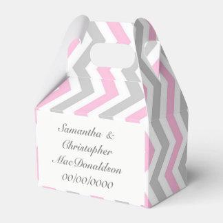 Pink grey and white chevron wedding favour box
