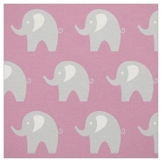Pink grey baby elephant pattern fabric DIY textile