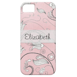 Pink Grey Black Flowers Stitched Vellum iPhone 5 Cover
