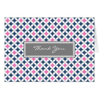 Pink Grey Blue Pattern Wedding Thank You Card