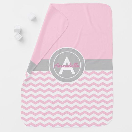 Pink Grey Chevron Baby Blanket