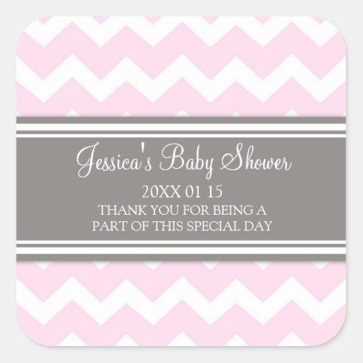 Pink Grey Chevron Baby Shower Favor Stickers