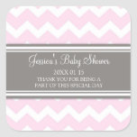 Pink Grey Chevron Baby Shower Favour Stickers