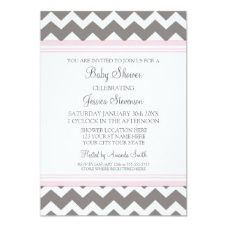 Pink Grey Chevron Custom Baby Shower Invitations