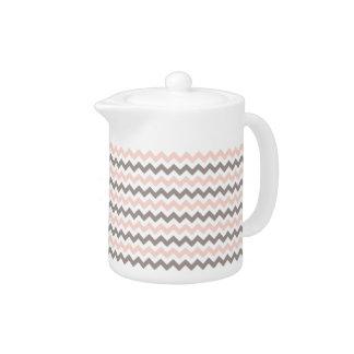 Pink & Grey Chevron Small Teapot