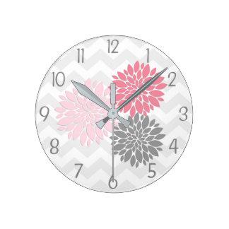 Pink Grey Dahlia Flower Wall Clock