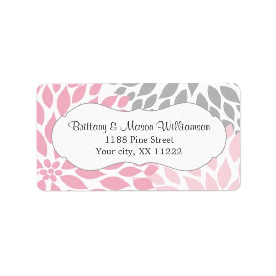 Pink Grey Dahlia Wedding Bridal Baby Shower custom Address Label