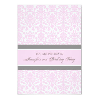 Pink Grey Damask 21st Birthday Party Invitations