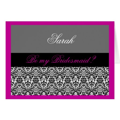 pink & grey damask Be my bridesmaid Cards