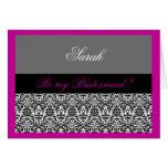 pink & grey damask Be my bridesmaid Greeting Card