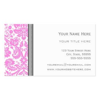 Pink Grey Damask Floral Business Cards
