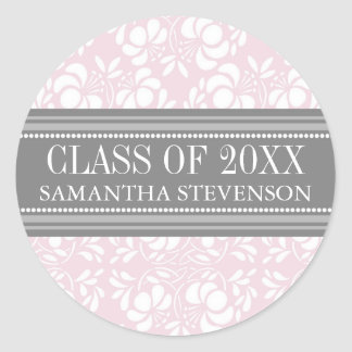 Pink Grey Damask Graduation Custom Year Name Round Sticker
