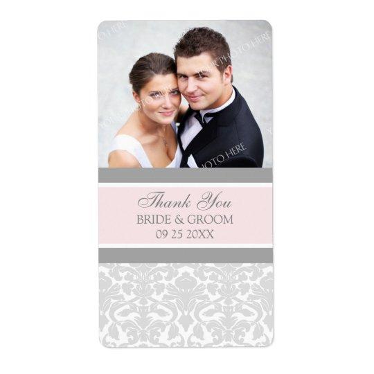 Pink Grey Damask Photo Wedding Labels