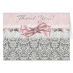 Pink Grey Damask Pink and Grey Thank You Cards